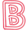 Capital letter B drawing with Red Marker vector image vector image