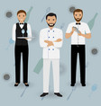 chef cook waitress in uniform and barman standing vector image