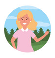 child girl portrait round icon vector image