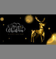 christmas and new year 3d gold reindeer card vector image vector image