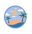 circular beach palm trees tour travel island vector image vector image