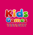 colorful logo kids games bright funny font vector image