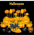 Cute kittens and a set of carved pumpkins vector image vector image