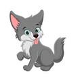cute wolf cartoon showing tongue