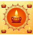 Diwali card decorated with diva vector image vector image