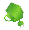 eco house with electric plug vector image vector image