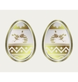 egg with a gold border and the Easter Bunny vector image