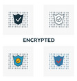 encrypted icon set four elements in different vector image vector image