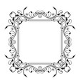 floral decorative frame black ornamental branch vector image