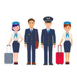 group of pilots and flight attendants with luggage vector image