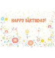Happy birthday floral banner cute vector image