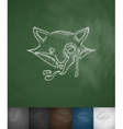 hipster fox icon Hand drawn vector image