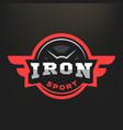 iron sport logo emblem on a dark background vector image vector image