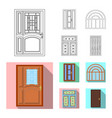 isolated object of door and front icon collection vector image vector image