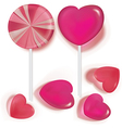 Lollipops and candy heart vector image vector image