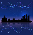 moscow silhouete and chritsmas lights vector image vector image
