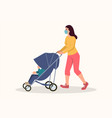 mother wearing medical mask pushing her child in vector image