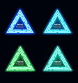 neon light triangles set techno frame collection vector image