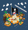 pirate adventures isometric composition vector image vector image