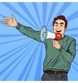 Pop Art Man with Megaphone Promoting Big Sale vector image vector image
