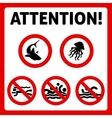 Prohibition swimming sign vector image vector image