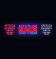 race neon sign racing design template neon vector image vector image