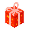 red gift box xmas icon isometric style vector image