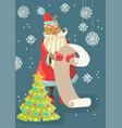 santa reading a long christmas wish list vector image vector image