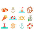 Sea object icon set cartoon style vector image