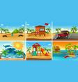set beach scene vector image vector image
