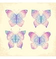 set beautiful butterflys hand drawn doodle vector image