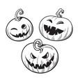 set black and white cartoon halloween pumpkins vector image vector image