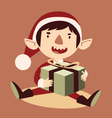 Silly Cartoon Elf Holding a Wrapped Git Box vector image