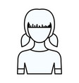 sketch silhouette of faceless half body girl with vector image vector image