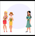three beautiful women girls friends standing vector image vector image
