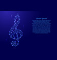 treble clef music symbol from futuristic vector image vector image