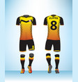 uniform football yellow black vector image vector image