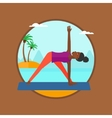 Woman practicing yoga triangle pose on the beach vector image vector image