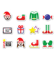 Elf Christmas label set vector image