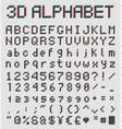 3d pixel font retro style alphabet vector image vector image