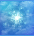 abstract of clear blue sky with sun burst in the vector image