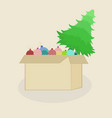 beautiful element box box carton box with a bunch vector image vector image