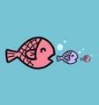 big fish eat small fish cartoon vector image vector image