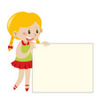 blond girl holding blank sign vector image