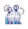 business statistics diagram world currency foreign vector image vector image