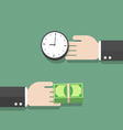 Businessman hand exchanging time and money to each vector image