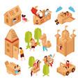cardboard games children set vector image