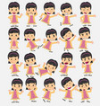cartoon character asian girl set with different vector image vector image