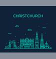 christchurch city skyline new zealand line vector image