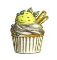 color tasty ice cream cake sweet dessert vintage vector image vector image